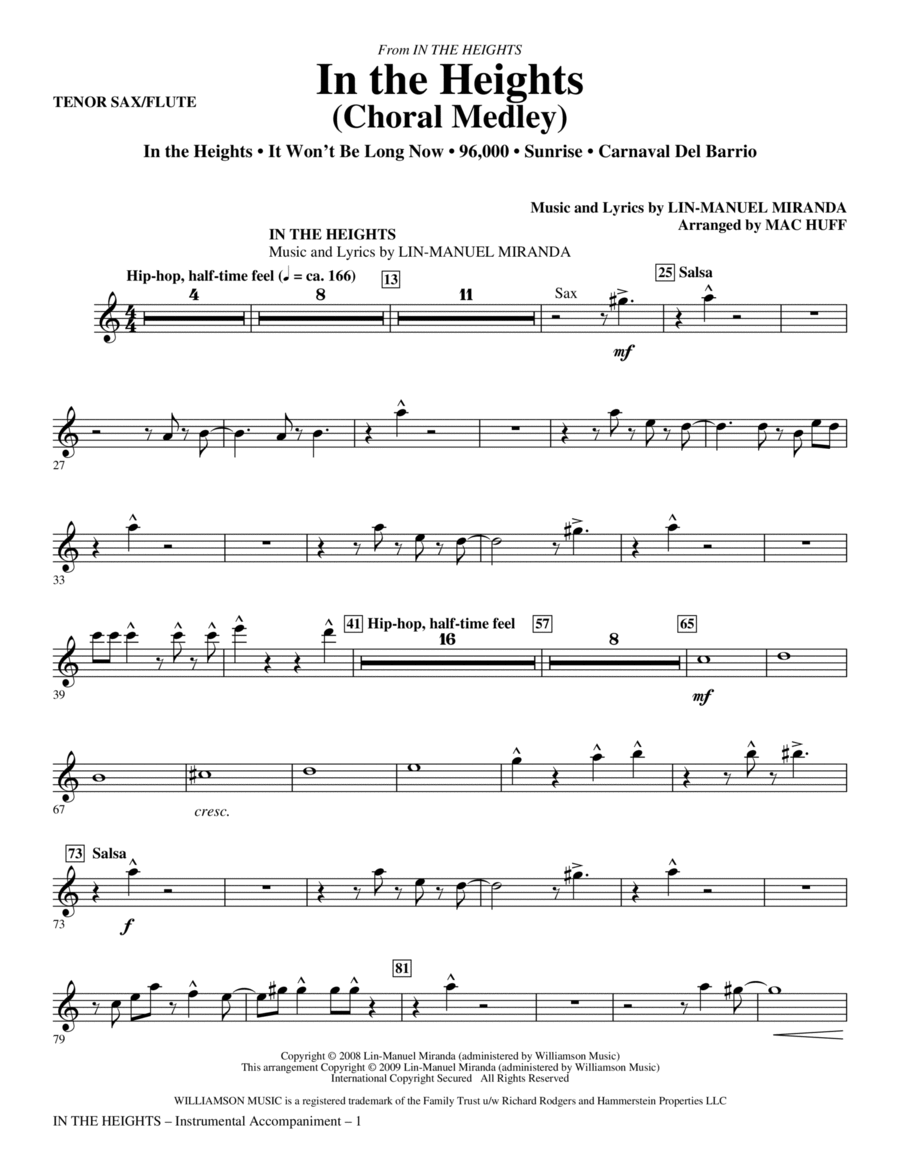 In The Heights (Choral Medley) - Tenor Sax/Flute