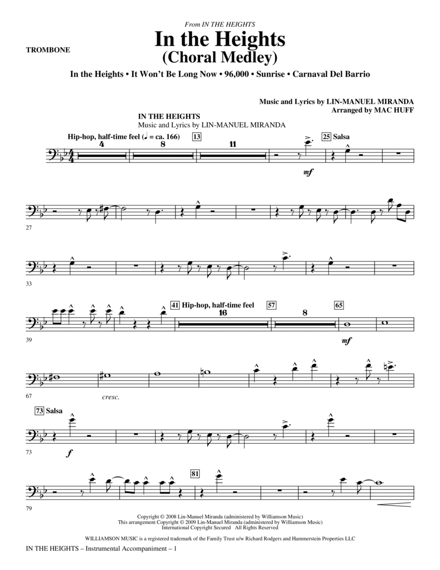 In The Heights (Choral Medley) - Trombone
