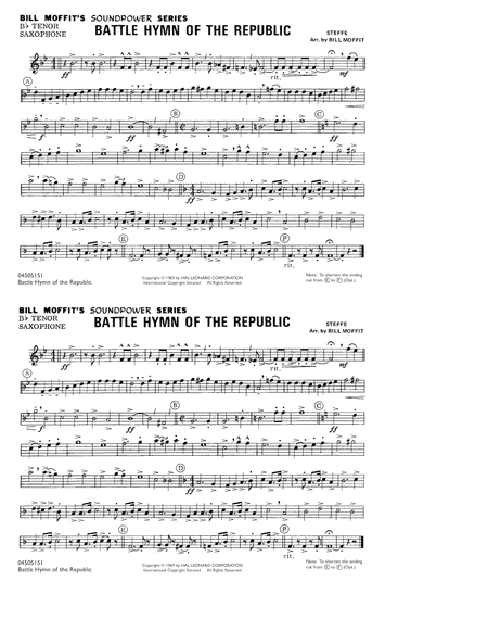Battle Hymn Of The Republic - Bb Tenor Saxophone