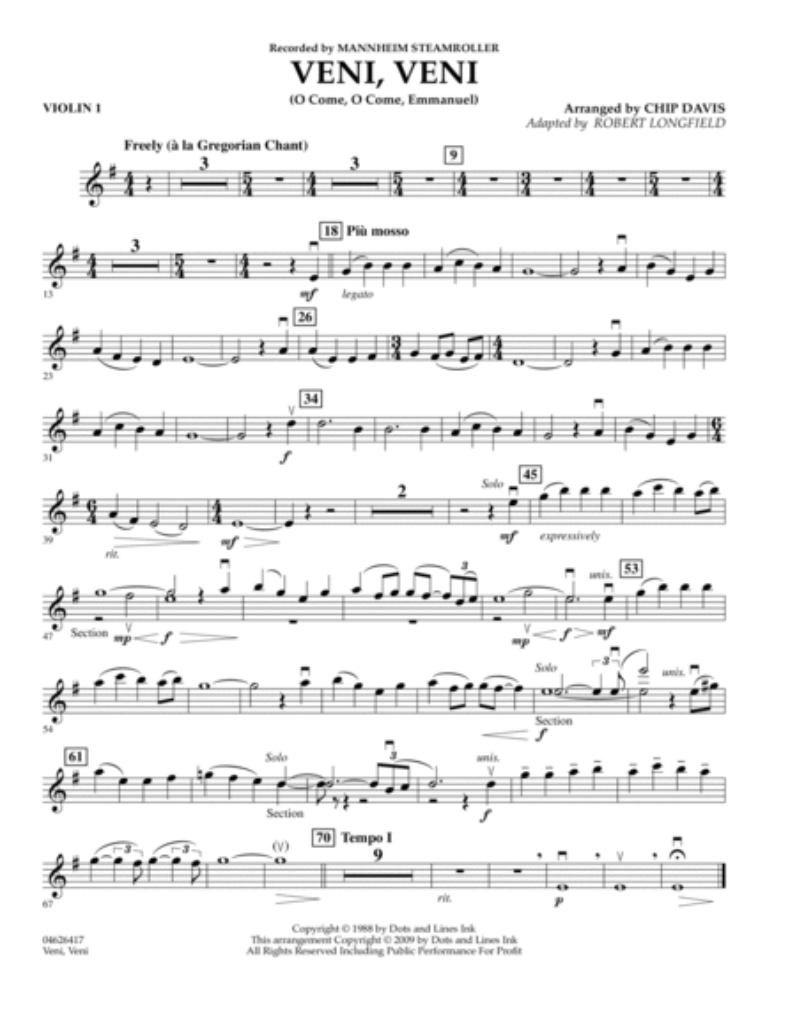 Veni, Veni (O Come, O Come Emmanuel) - Violin 1