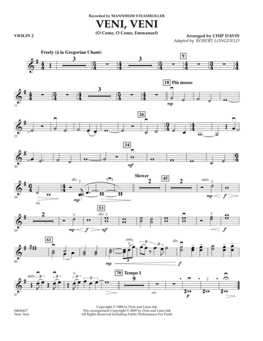 Veni, Veni (O Come, O Come Emmanuel) - Violin 2