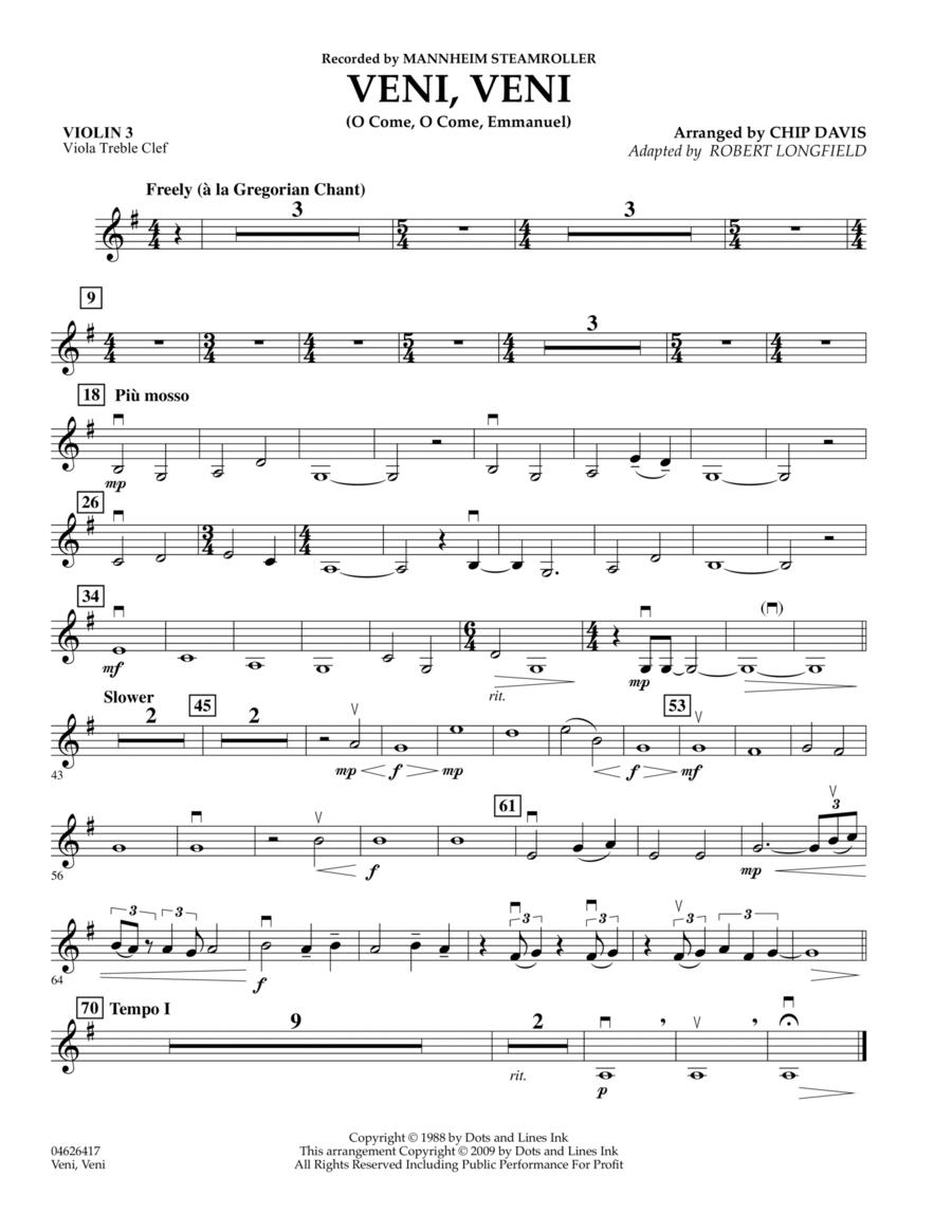 Veni, Veni (O Come, O Come Emmanuel) - Violin 3 (Viola Treble Clef)