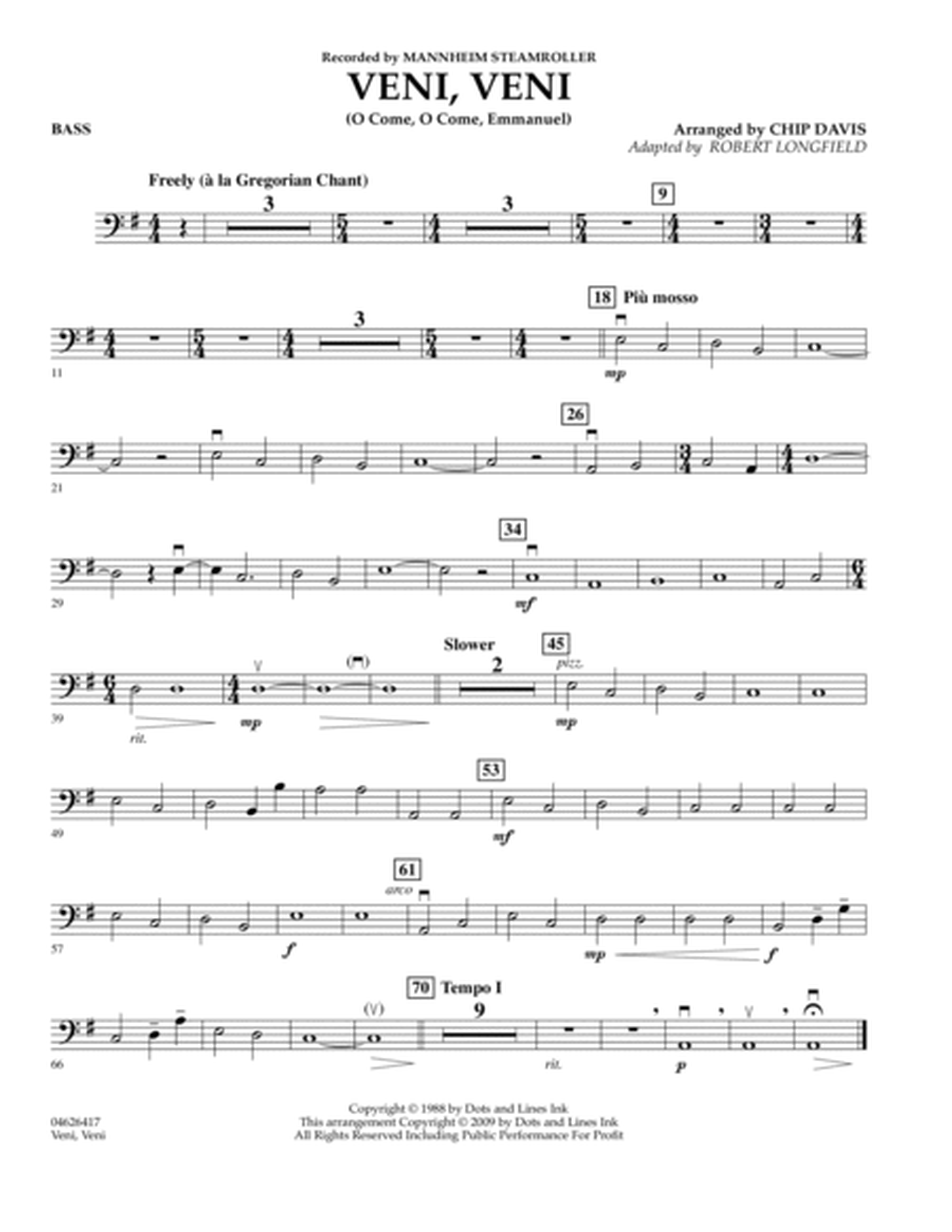 Veni, Veni (O Come, O Come Emmanuel) - Bass