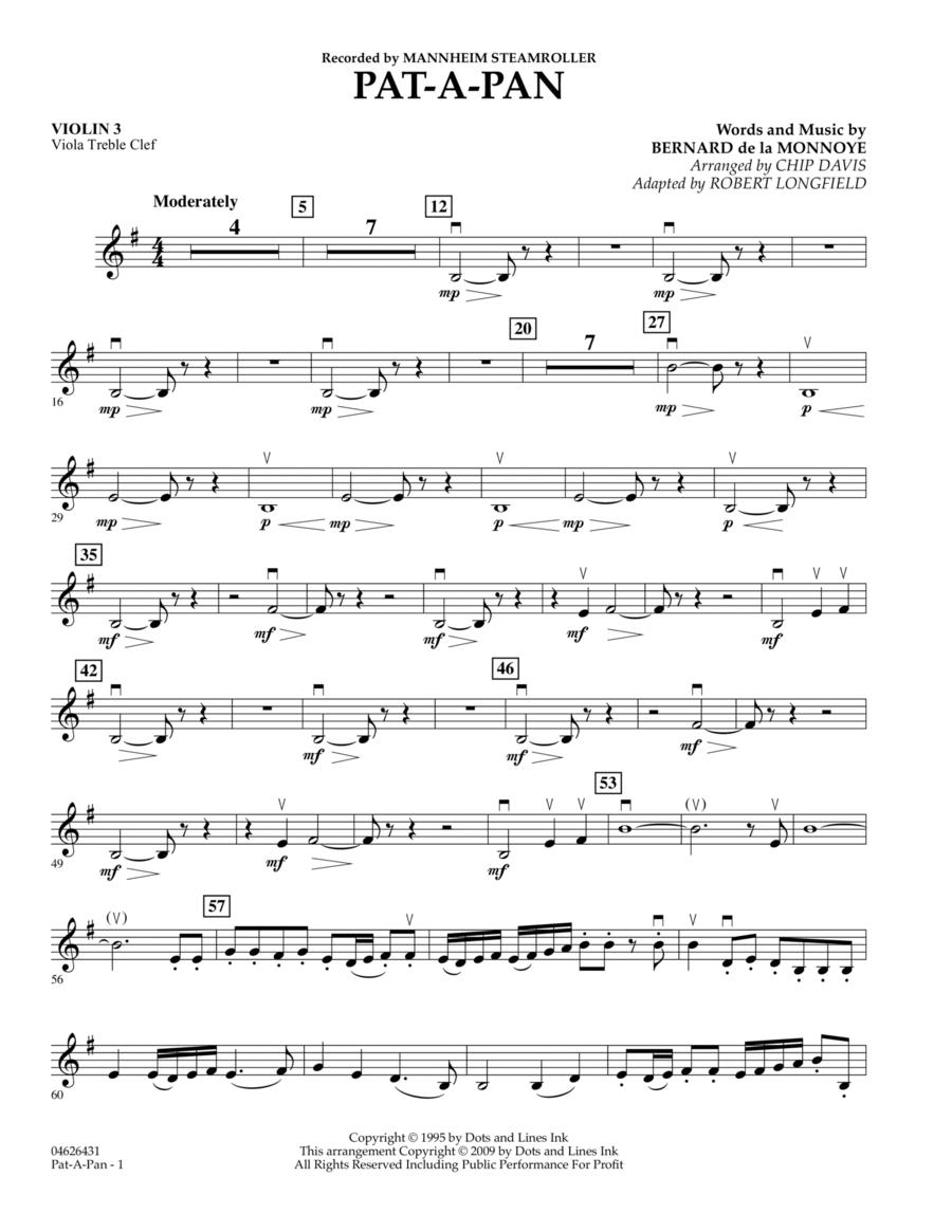 Pat-A-Pan - Violin 3 (Viola Treble Clef)