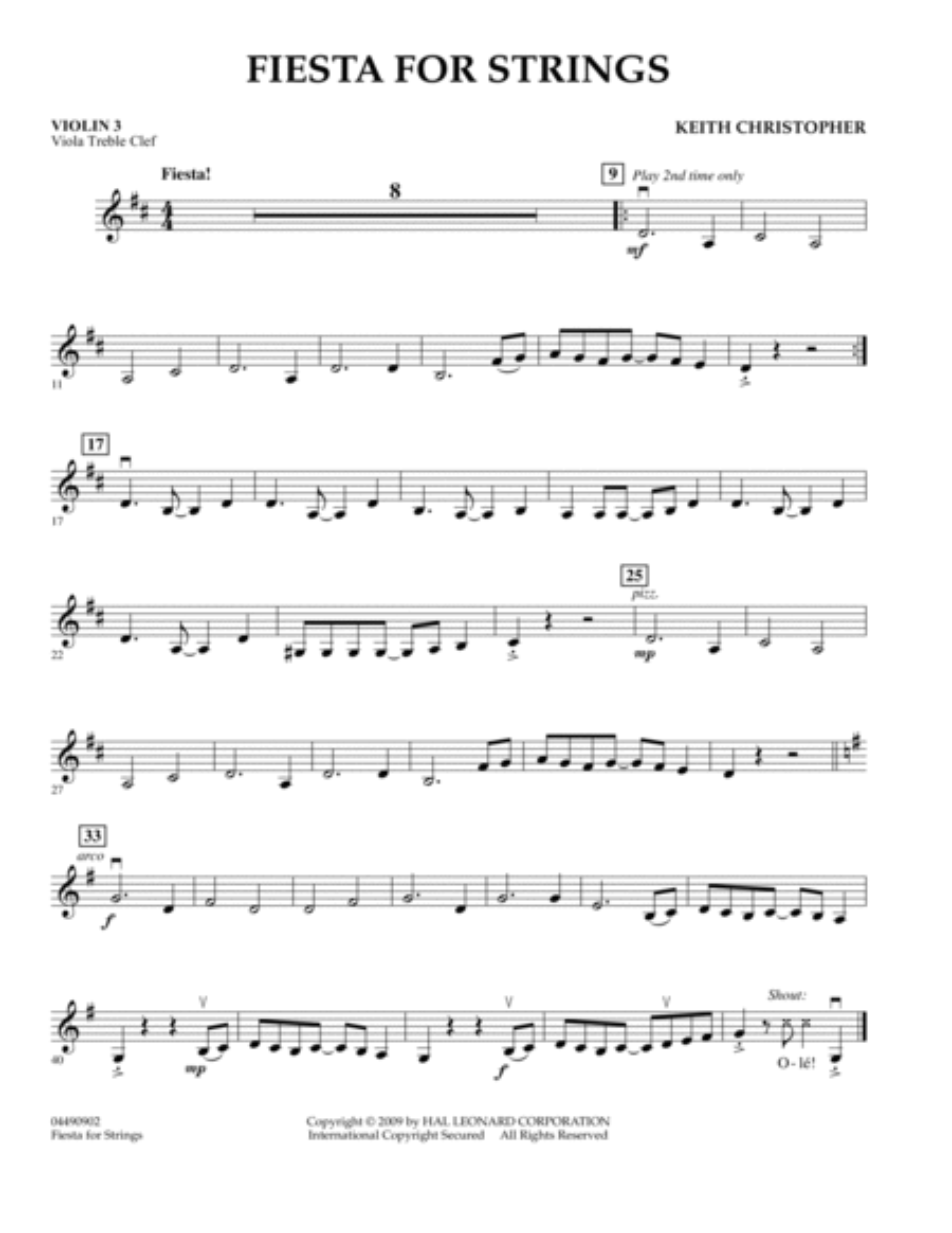 Fiesta for Strings - Violin 3 (Viola Treble Clef)