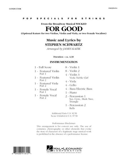 For Good (Duet Feature from Wicked) - Full Score