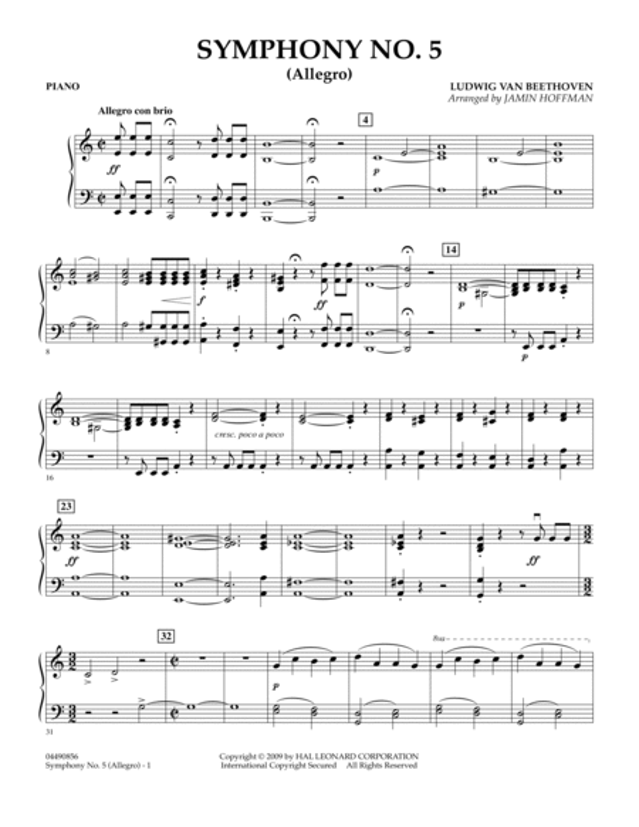 Symphony No. 5 (Allegro) - Piano