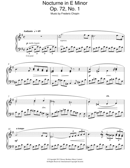Nocturne In E Minor Op. 72, No. 1