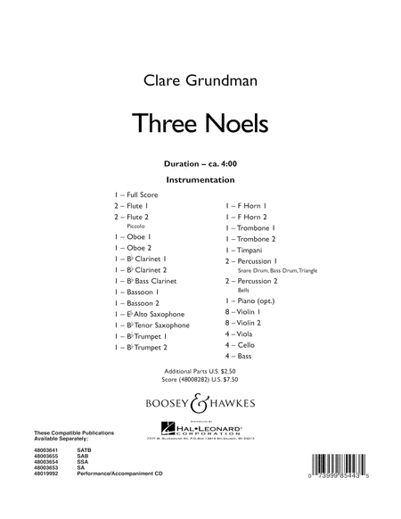 Three Noels - Conductor Score (Full Score)