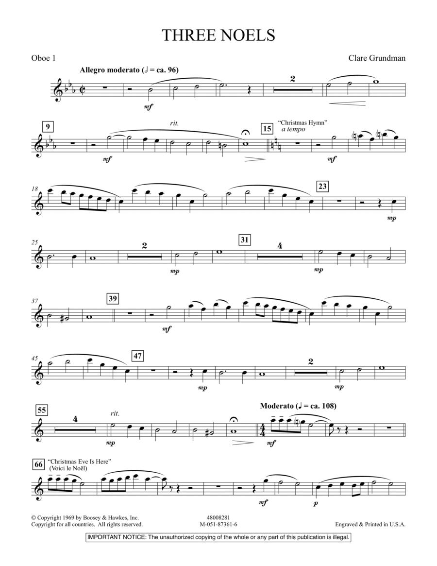 Three Noels - Oboe 1