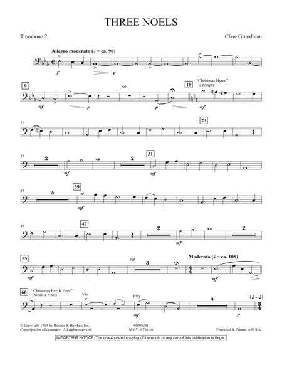 Three Noels - Trombone 2