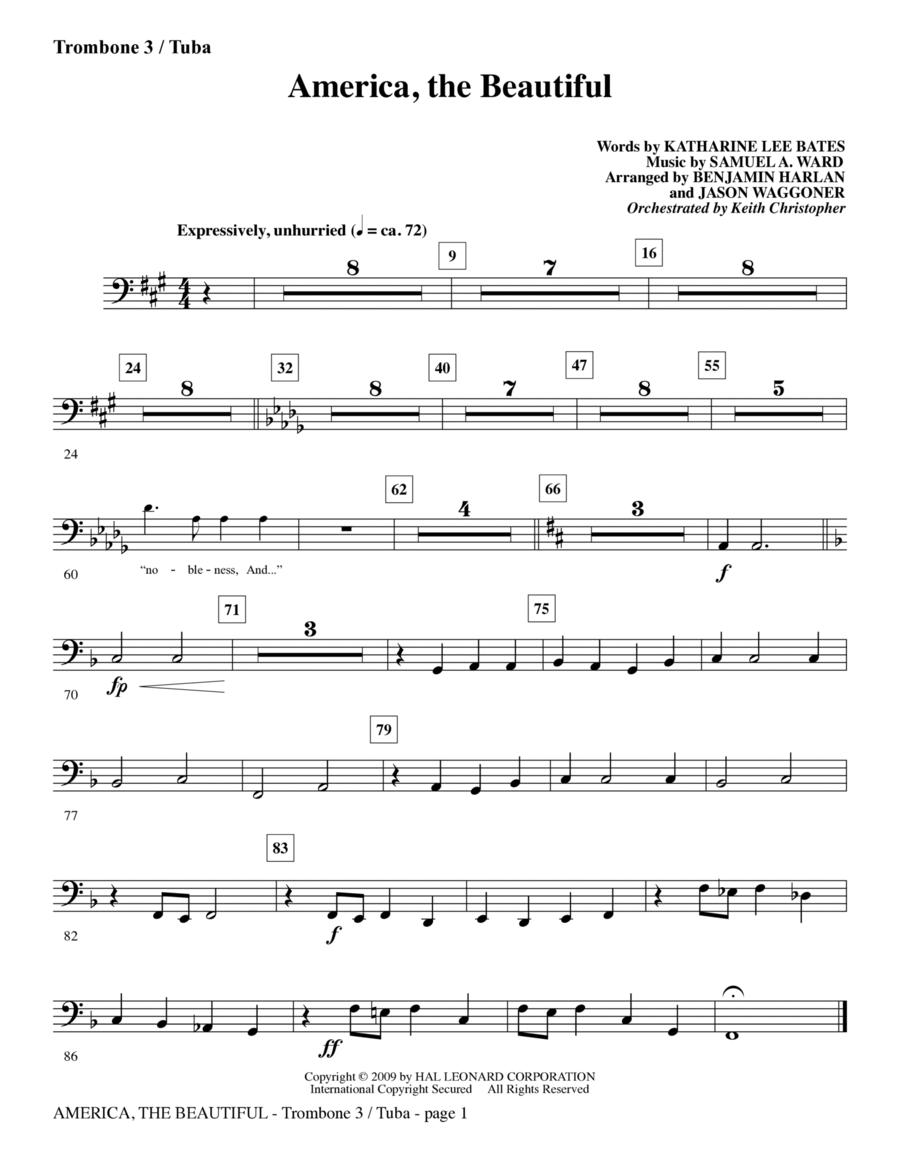 America, The Beautiful - Trombone 3/Tuba