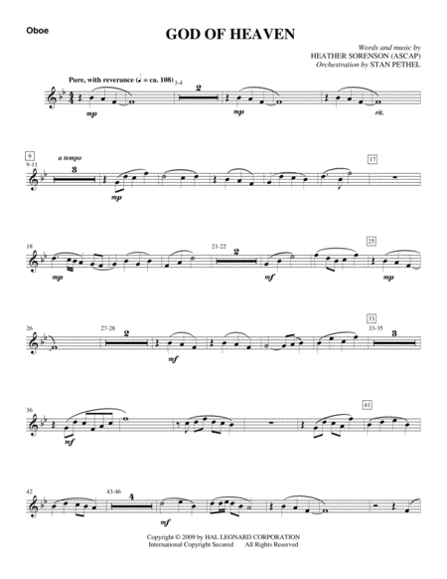 God Of Heaven - Oboe