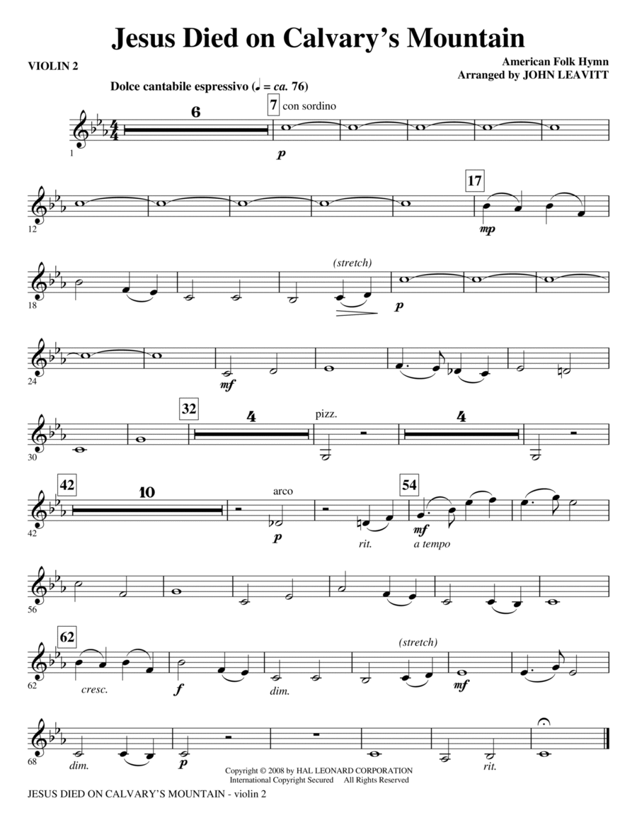 Download Jesus Died On Calvary's Mountain - Violin 2 Sheet ...