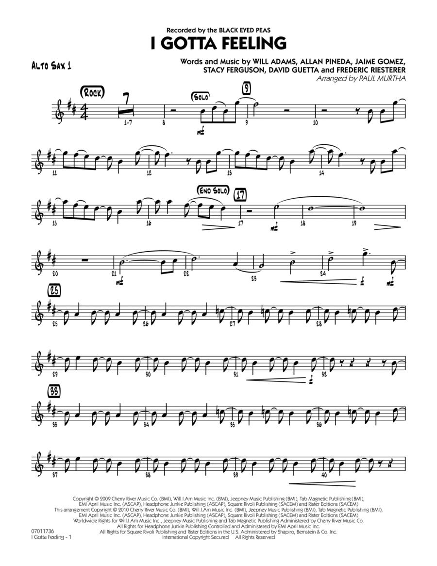 I Gotta Feeling - Alto Sax 1