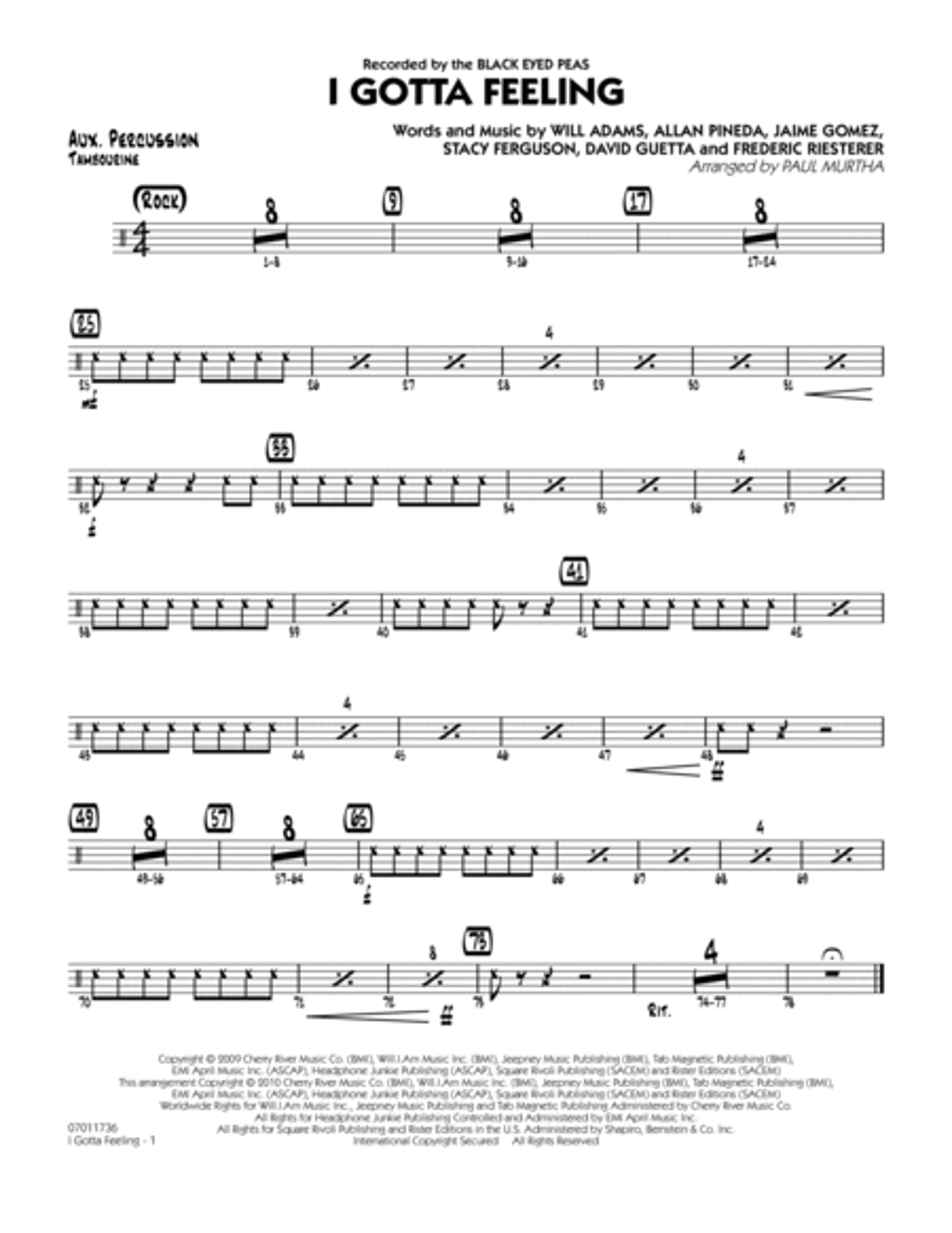 I Gotta Feeling - Aux Percussion