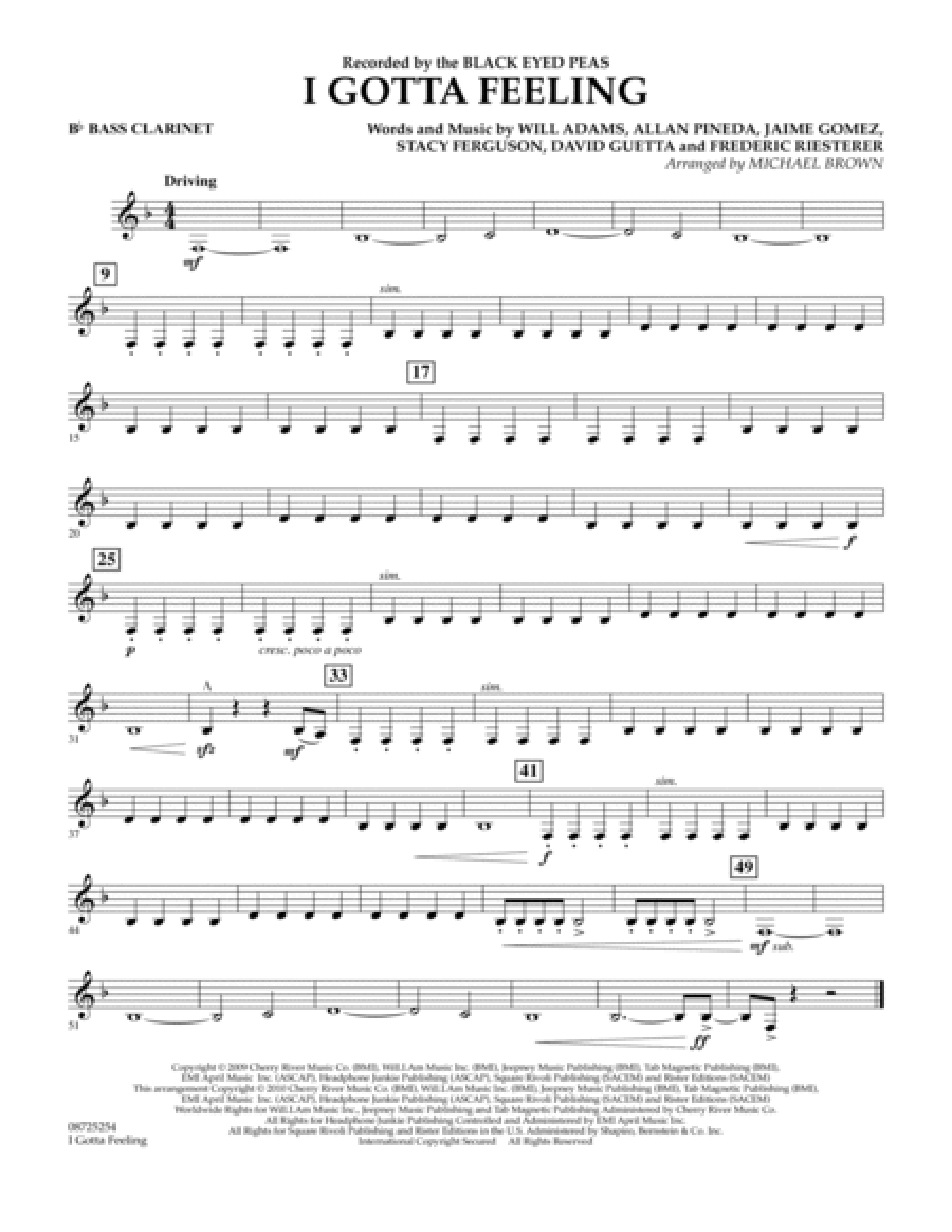 I Gotta Feeling - Bb Bass Clarinet