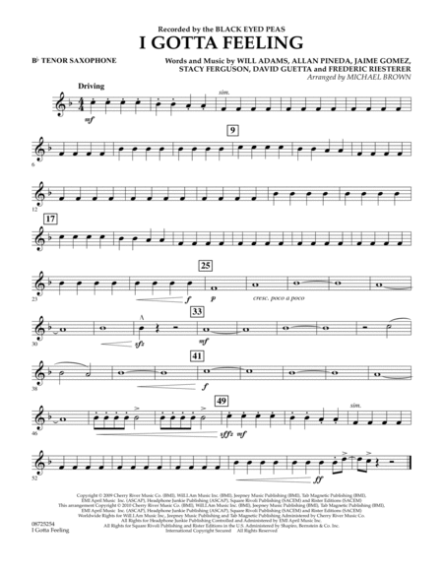 I Gotta Feeling - Bb Tenor Saxophone