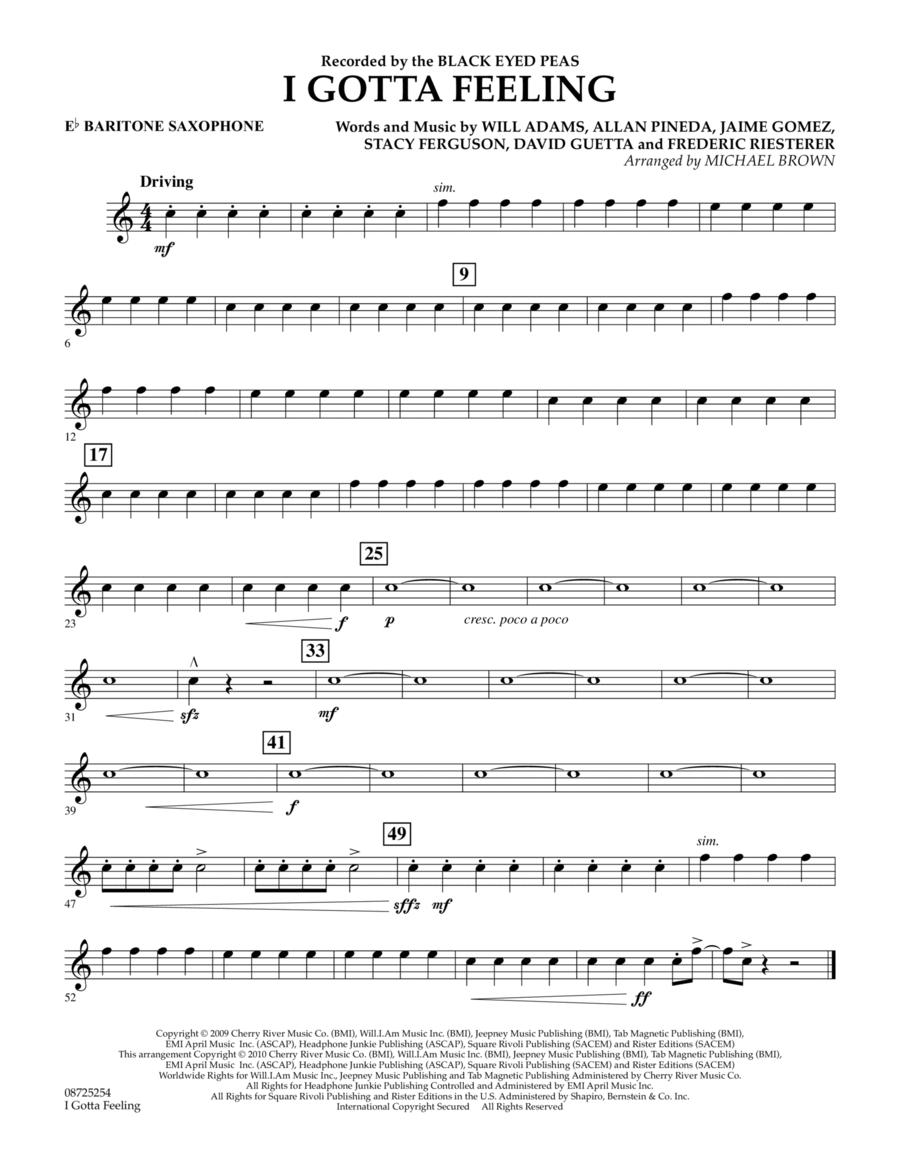 I Gotta Feeling - Eb Baritone Saxophone