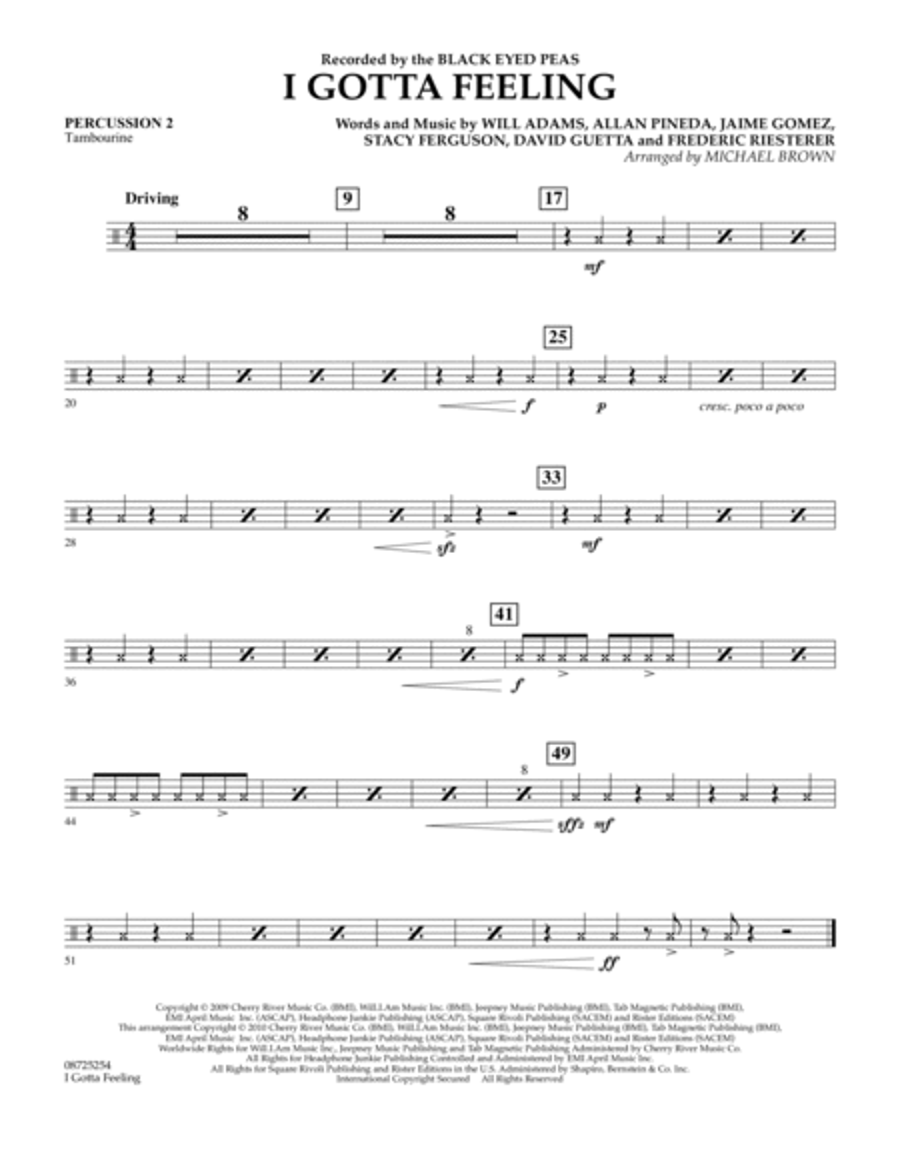 I Gotta Feeling - Percussion 2