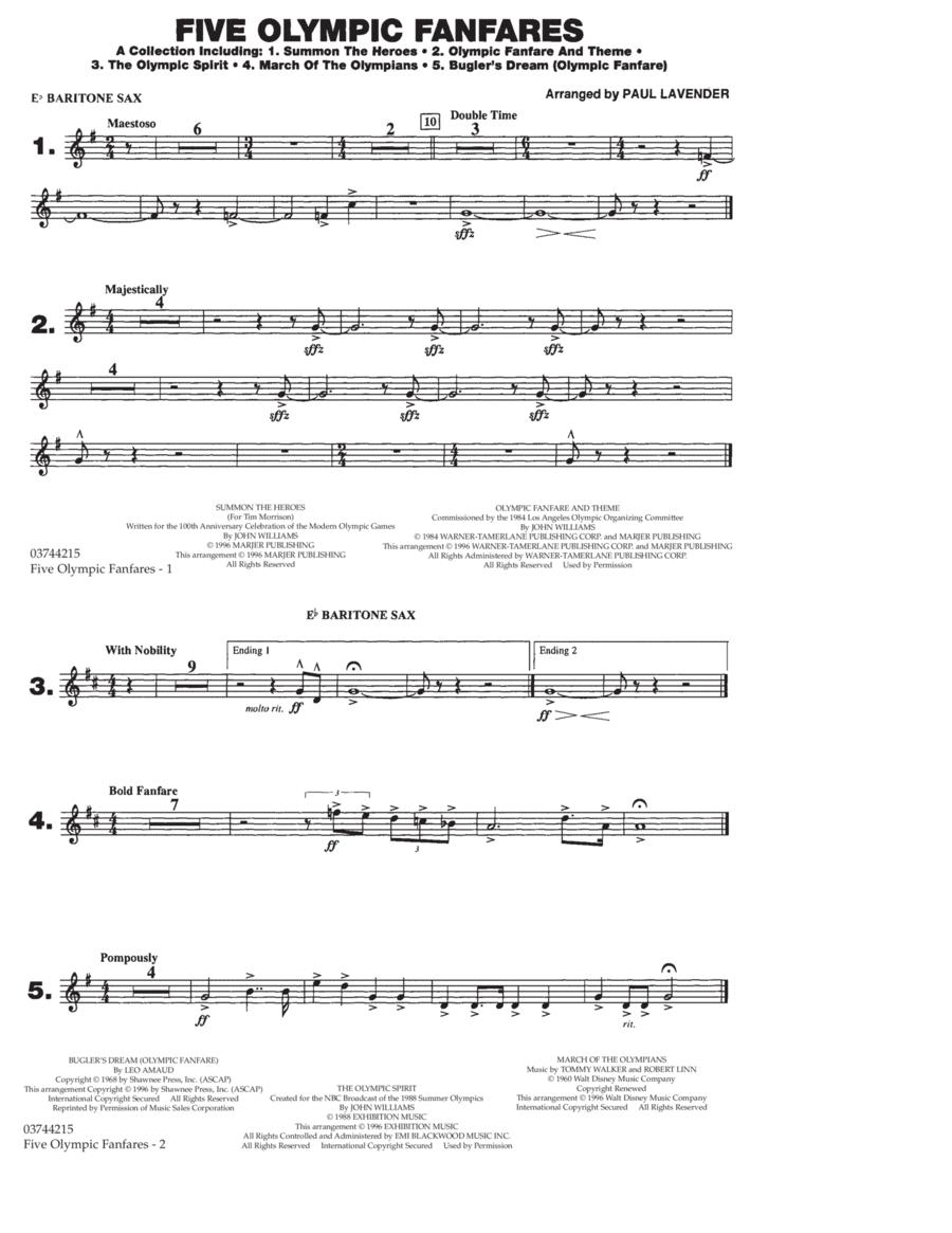 Five Olympic Fanfares - Eb Baritone Sax