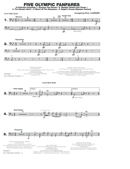 Five Olympic Fanfares - Electric Bass