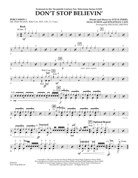 Don't Stop Believin' - Percussion 1