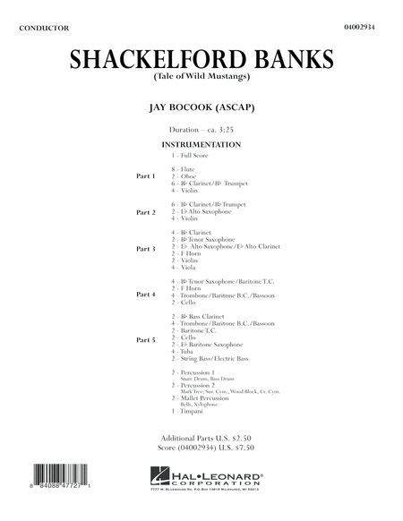 Shackelford Banks (Tale of Wild Mustangs) - Full Score