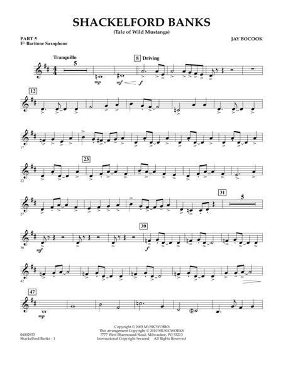 Shackelford Banks (Tale of Wild Mustangs) - Pt.5 - Eb Baritone Saxophone