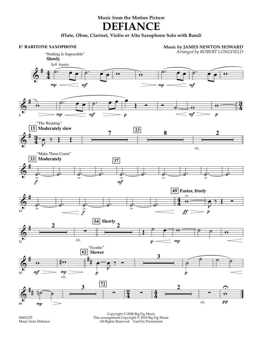 Music from Defiance - Eb Baritone Saxophone