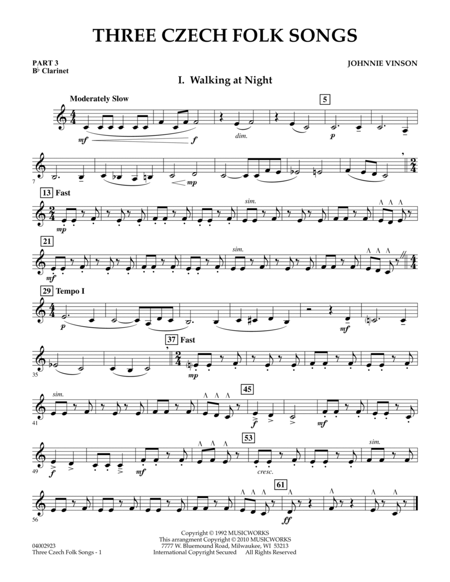 Three Czech Folk Songs - Pt.3 - Bb Clarinet