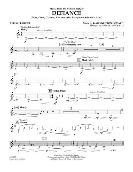Music from Defiance - Bb Bass Clarinet