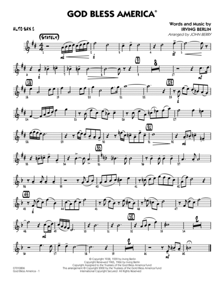 God Bless America - Alto Sax 2