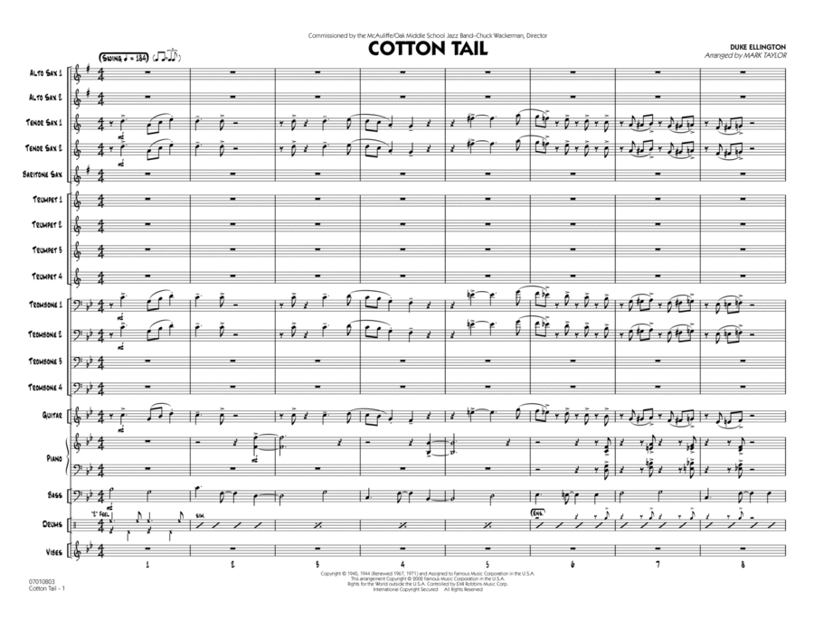 Cotton Tail - Conductor Score (Full Score)