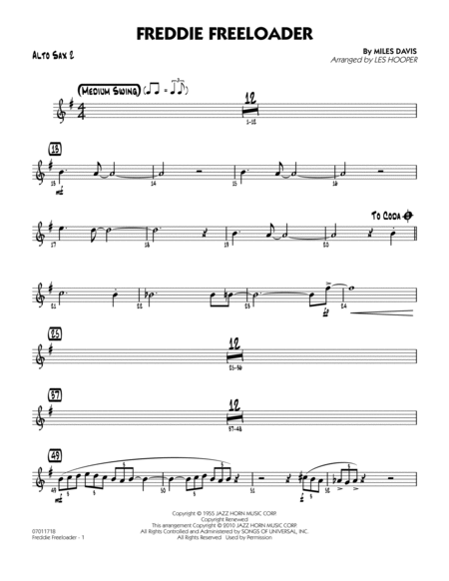 Freddie Freeloader - Alto Sax 2
