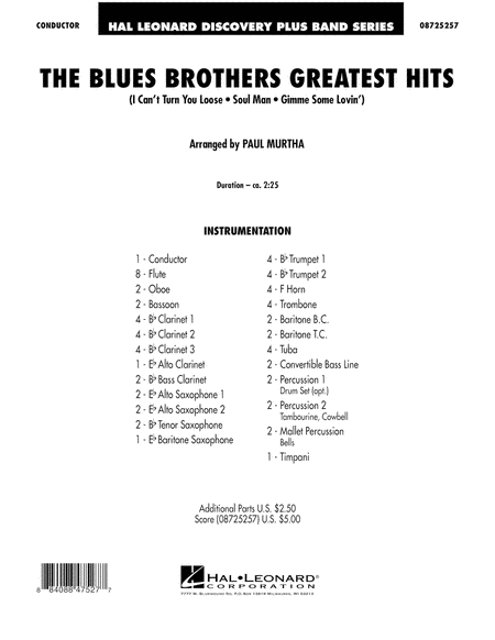 The Blues Brothers Greatest Hits - Full Score