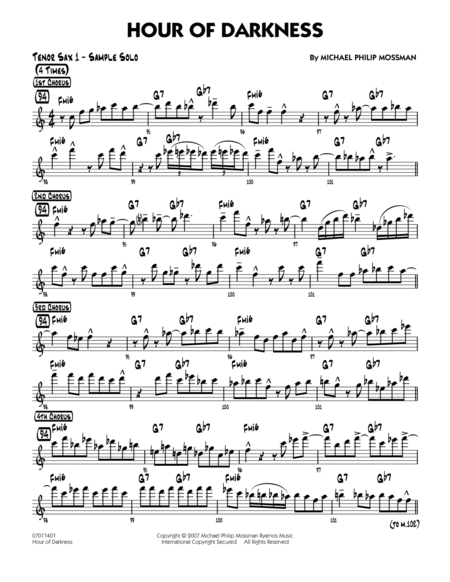 Hour Of Darkness - Solo Sheet - Tenor Sax