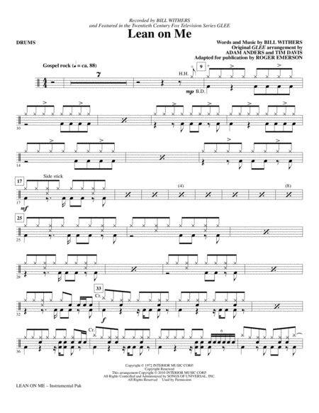 Drum jazz drum tabs : Lean On Me - Drums
