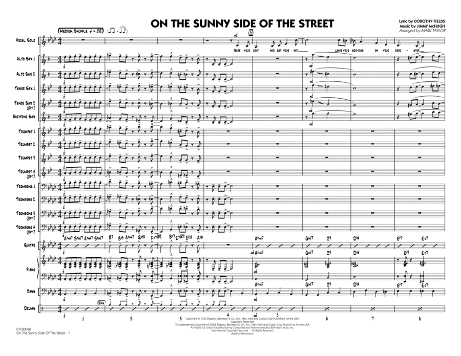 On The Sunny Side Of The Street - Conductor Score (Full Score)