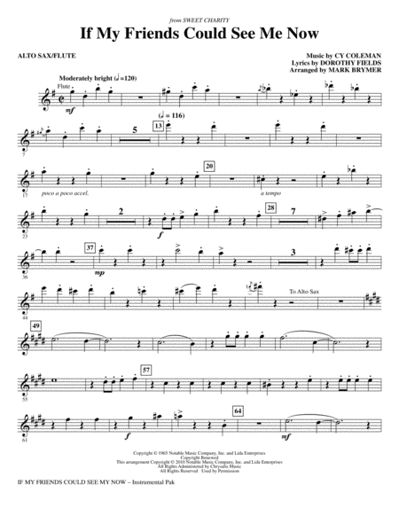If My Friends Could See Me Now (from Sweet Charity) - Alto Sax/Flute
