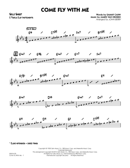Come Fly With Me - C Solo Sheet