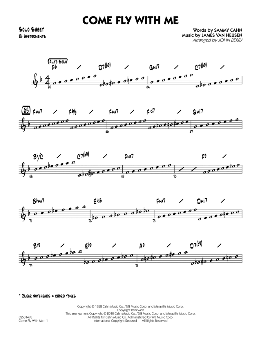 Come Fly With Me - Bb Solo Sheet
