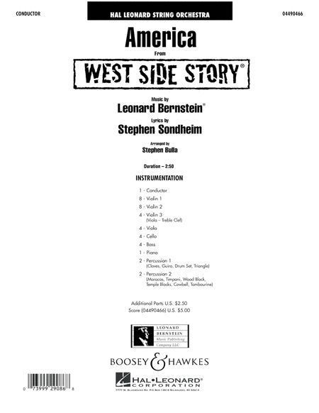 America (from West Side Story) - Full Score