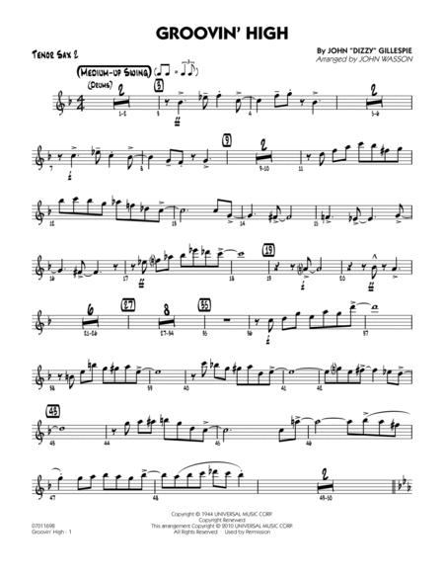 Groovin' High - Tenor Sax 2