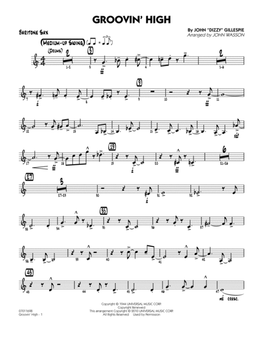 Groovin' High - Baritone Sax