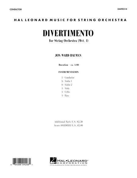 Divertimento for String Orchestra (Mvt. 1) - Conductor Score (Full Score)