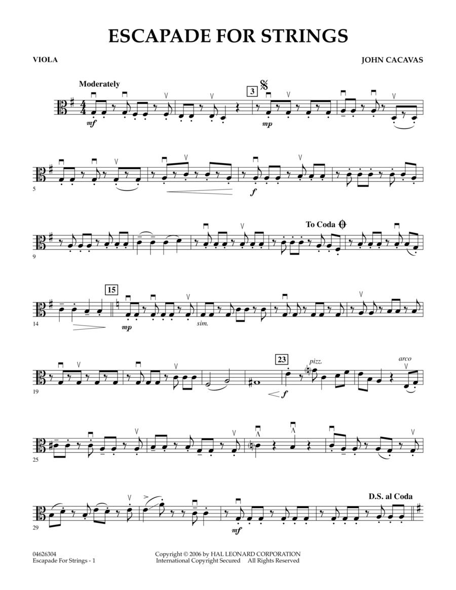 Escapade for Strings - Viola