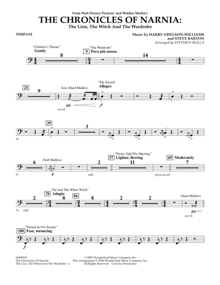 Music from The Chronicles Of Narnia: The Lion, The Witch And The Wardrobe - Timpani
