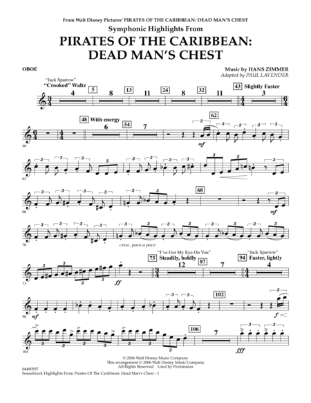 Soundtrack Highlights from Pirates Of The Caribbean: Dead Man's Chest - Oboe