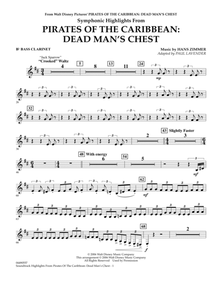 Soundtrack Highlights from Pirates Of The Caribbean: Dead Man's Chest - Bb Bass Clarinet
